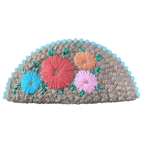 Dhaaga Handcrafts- Natural Pastel Floral Half Moon Clutch