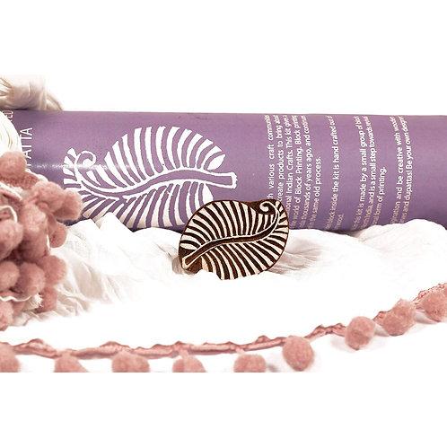 Handmade Wooden Block Print DIY Craft Kit Dupatta -   Leaf Design ( Lavender)