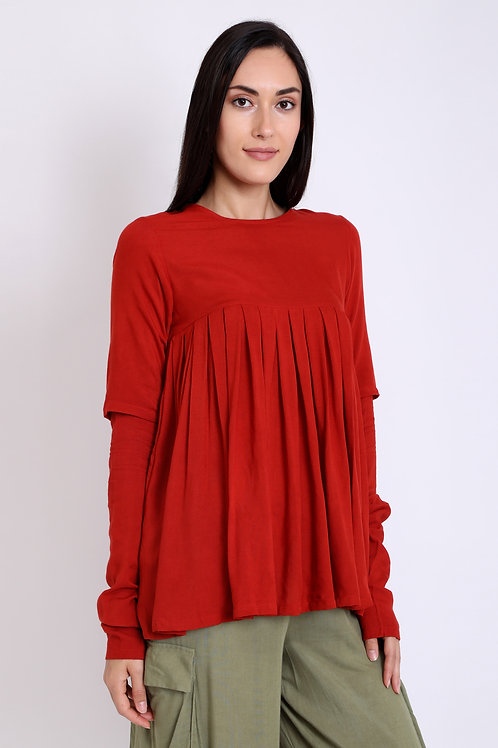 Red Pleated Double Sleeve Top