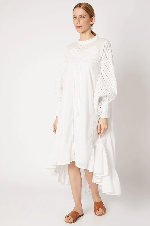 White High Low Dress With Statement Sleeves And Overload of Fagoting Details