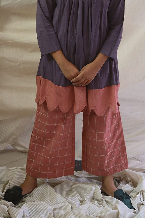 Rose Pink Linen Culottes With  Checkered Embroidery