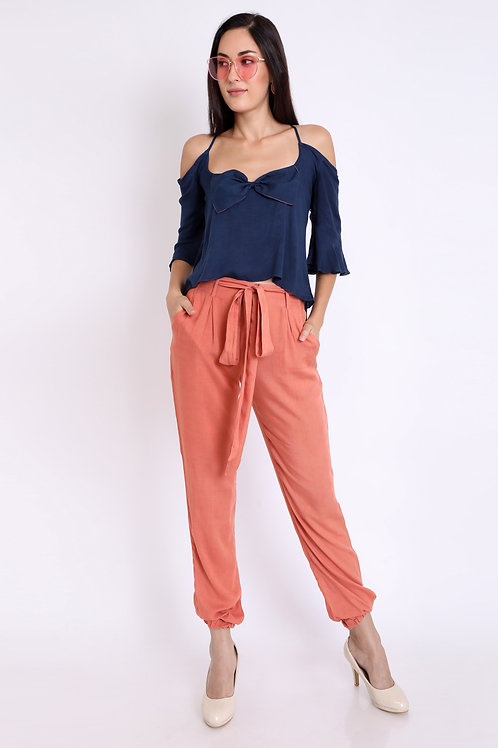 Peach Side Pocket Jog Pants