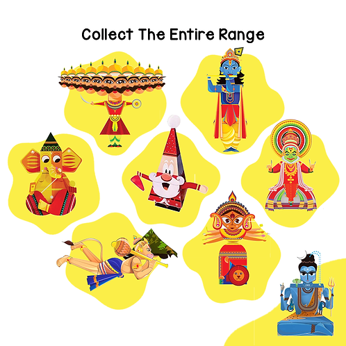 Craftoi Pack of 8: 3D DIY Paper Craft Kit Toy Indian Festivals