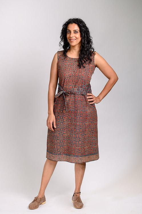 Ajrak Dress with Sash