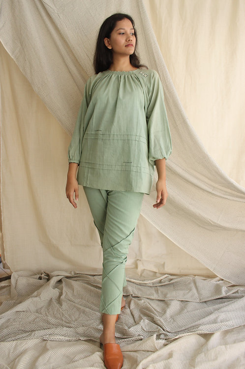 Mulmul Top With Elasticated Neck - Indie Mint Green