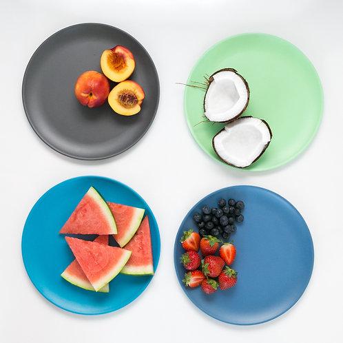 Bobo & boo Set of 4 Bamboo Dinner Plates for Babies, Toddler, Kids - Coastal