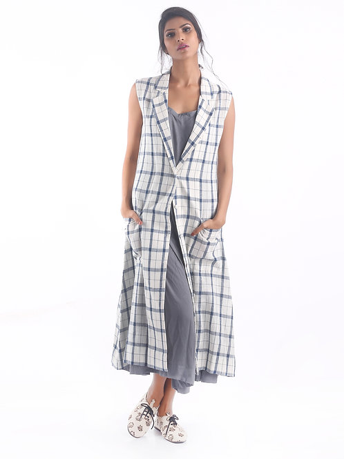 Sustainable Kala Cotton Blue Check Overwear Dress
