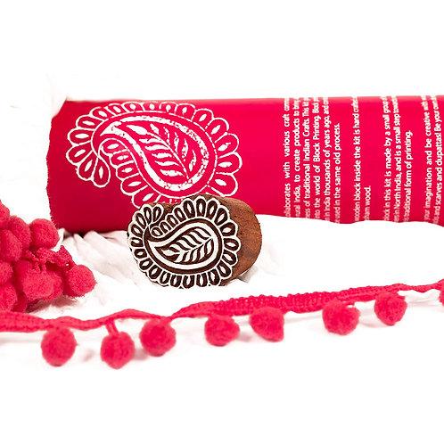 Handmade Wooden Block Print DIY Craft Kit  Dupatta -  Paisley Design ( Pink)