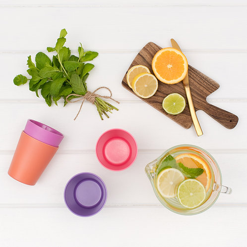 Bobo & Boo Non-Toxic, Bamboo Kids Drinking Cups, Stackable & Sunset