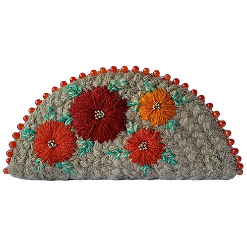 Dhaaga Handcrafts- Natural Rust Floral Half Moon Clutch