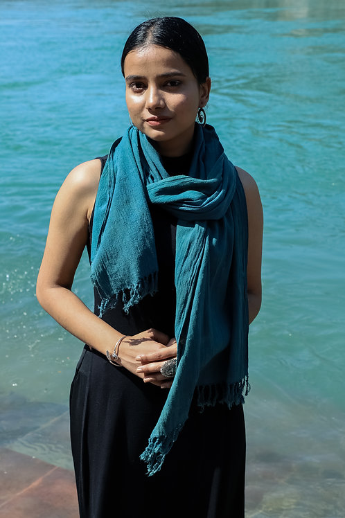 FIROZA |Naturally Dyed Turquoise Green Kala Cotton Scarf