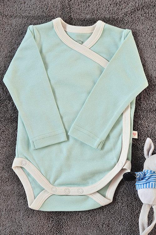 Mint Blue Unisex Full Sleeve Kimono Onesie In Organic Cotton