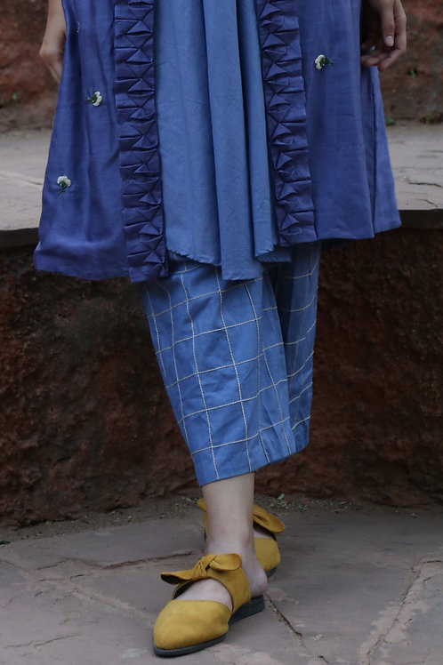 Denim Blue Linen Culottes With Checkered Embroidery