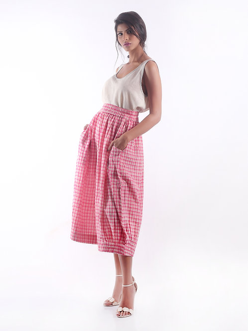 Sustainable Kala Cotton Fashion Pink Check Skirt