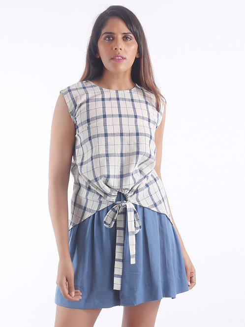 Sustainable Kala Cotton Knotted Blue Check Top