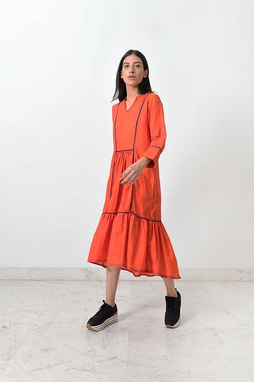 Khadi Contrasting Pipe Dress