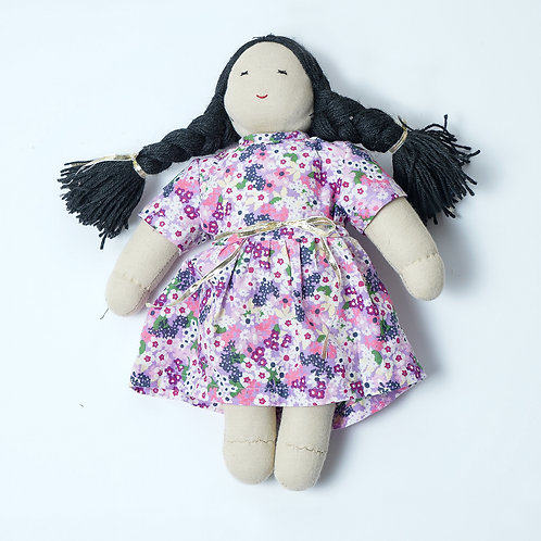 Handmade Fabric Doll (Assorted Dress Print and Hair Colour)