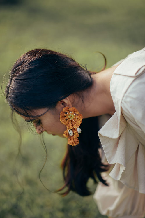 Jugni  Mirror Earrings - Color Mustard