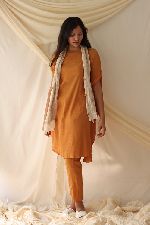 Textured Scarf With An Asymmetric Dress And Relaxed Fit Pants - Alecia -Yellow