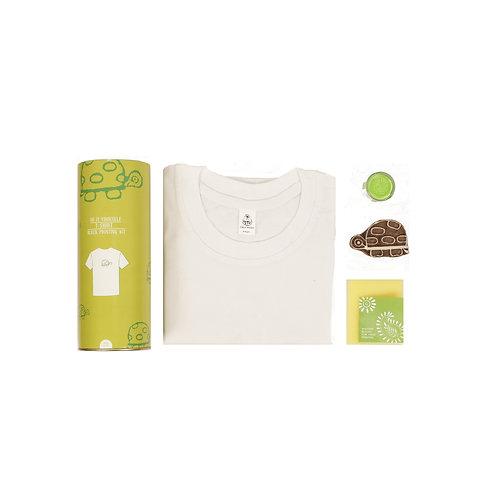 Handmade Wooden Block Print DIY Craft Kit of T-Shirt -Turtle- ( 4 - 12 years)