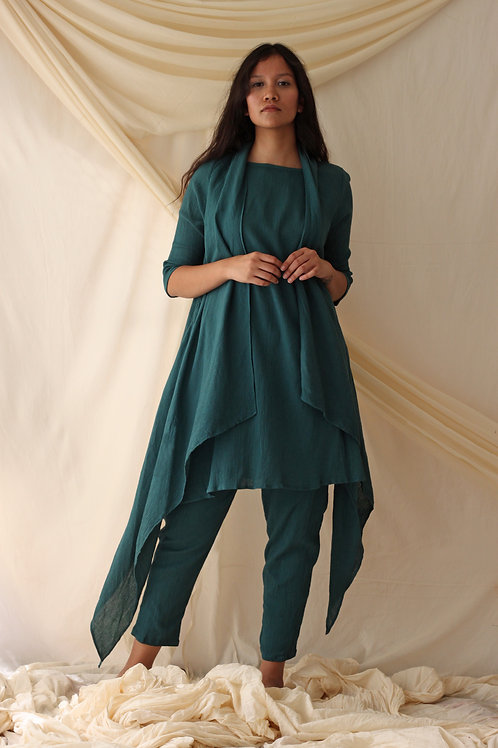 Midi Dress With Mock Overlay And Relaxed Fit Pants - Deana - Bottle Green