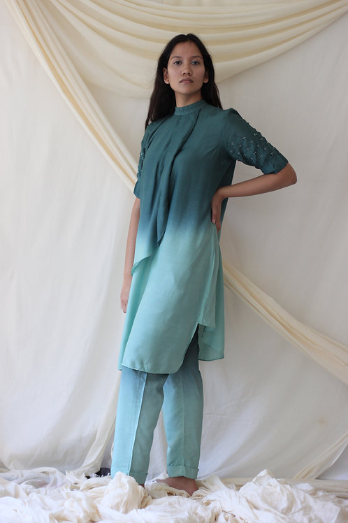 Front Overlap High Neck Tunic With Beaded Embroidery - Cecile Peace Silk - Green