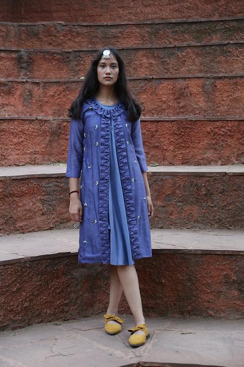 Denim Blue Jacket With Bias Dress