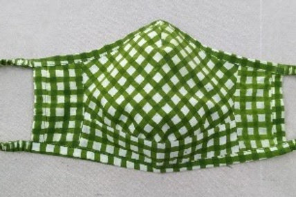 Handwoven Green Chex Ajrakh Block Print 3 Layer Organic Cotton Mask