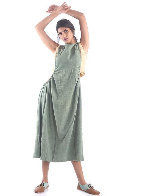 Sustainable Kala Cotton Green Overwear Dress