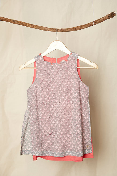 Double Layer Block Print Dress