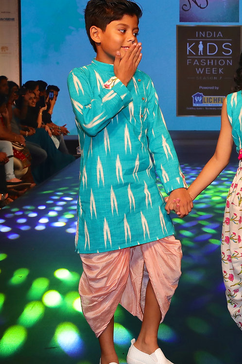 Chanderi Pink With Gold Stripped Dhoti And Turq Ikat Kurta