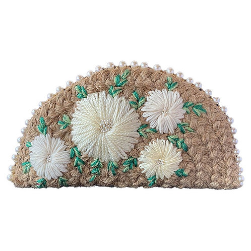 Dhaaga Handcrafts- Natural white Floral Half Moon Clutch