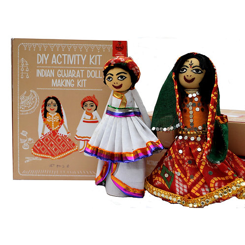 DIY Educational Toys Indian Traditional Doll Making Craft Kit (Dolls of Gujarat)