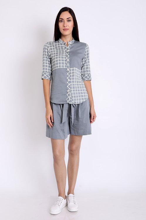 Grey Cotton Satin Check Panels Shirt