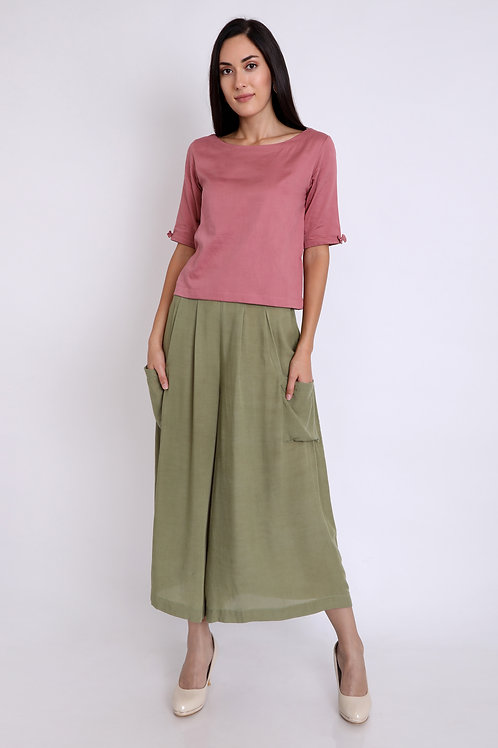 Olive Flowy Pocket Culottes