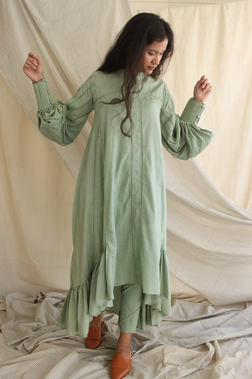 Mint High Low Dress With Statement Sleeves And Overload of Fagoting Details