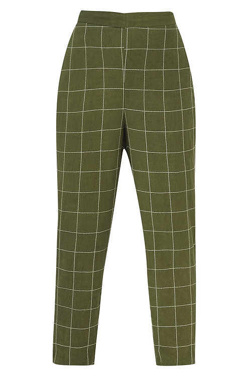 Straight checkered pants Olive Green