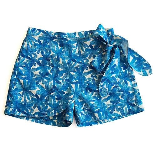 Blue Blooms Tie-Up Skort