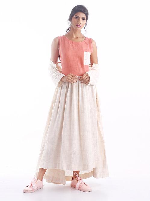 Sustainable Kala Cotton Colour Block Coral Dress