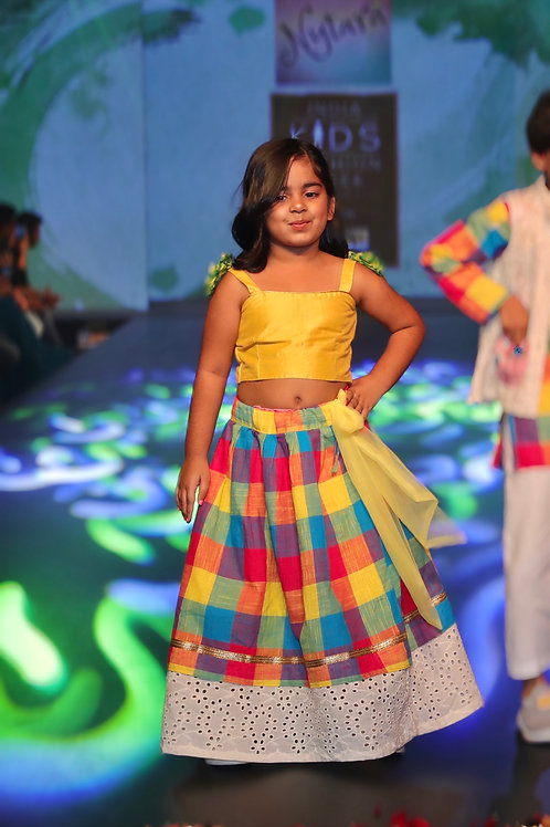 Madras Checked Lehenga With Yellow Blouse And Flower Pom Pom