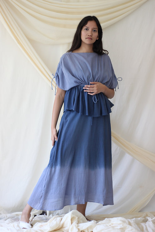 Full Length Slip Dress With A Jacket Over It - Amanda - Blue