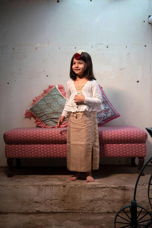Mogra Handwoven Slip Dress And Jacket Set