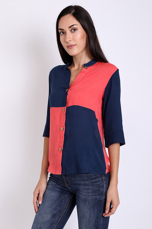 Navy Blue Colour Panelling Checkered Shirt