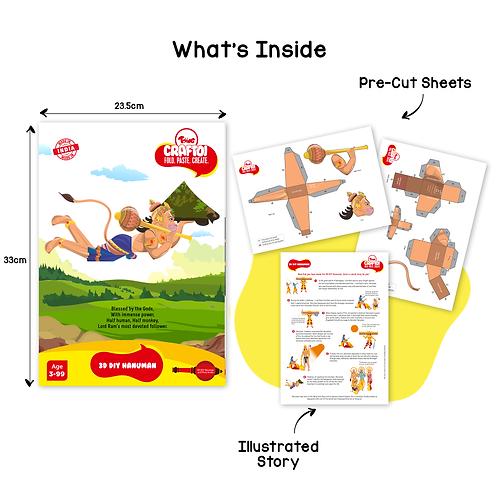 Craftoi Hanuman  - 3D DIY Paper Craft Kit, Teach Kids About Festivals