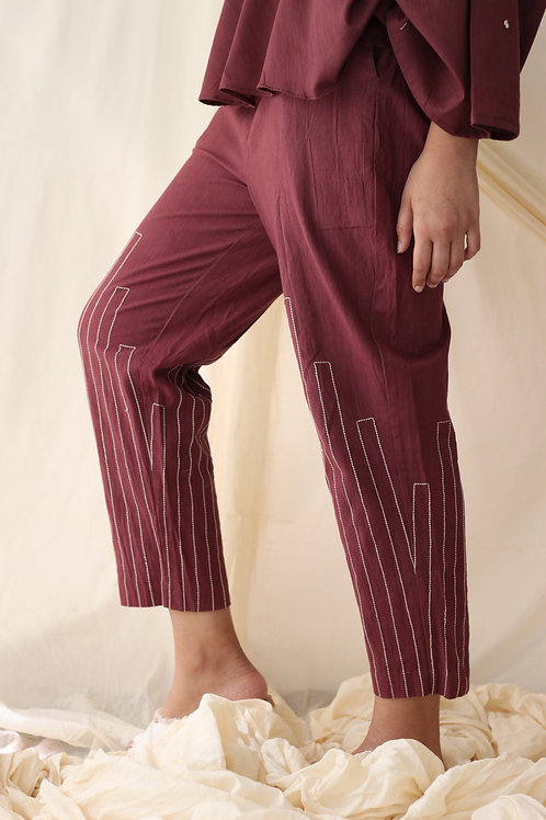 Straight embrodered pants Wine