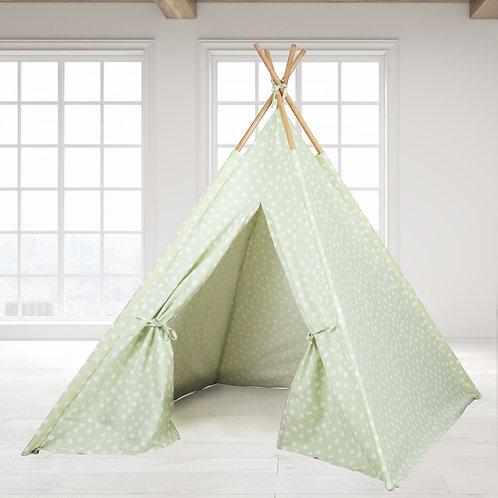 Teepee Tent - Green Base white dot
