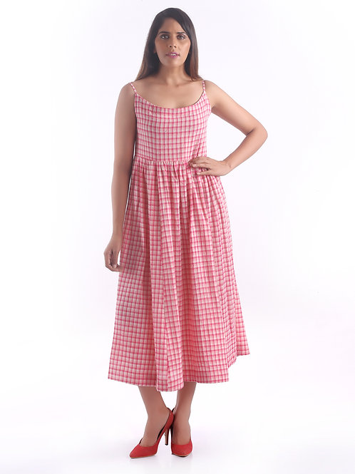 Sustainable Kala Cotton Pink Check Strap Dress