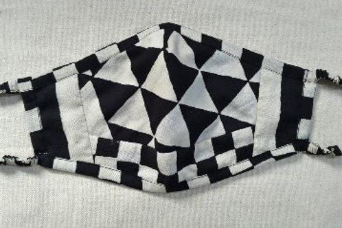 Handwoven Black Triangle Ajrakh Block Print 3 Layer Organic Cotton Mask