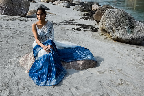 Amber | Naturally Dyed Indigo Linen Hand Embroidered Sari