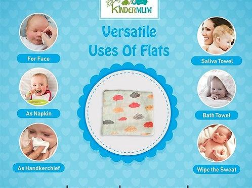Kinder Pink muslin Flats/squares (set of 3)